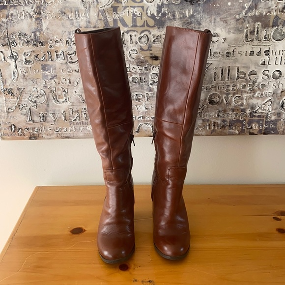 Aldo, brown leather knee high boots